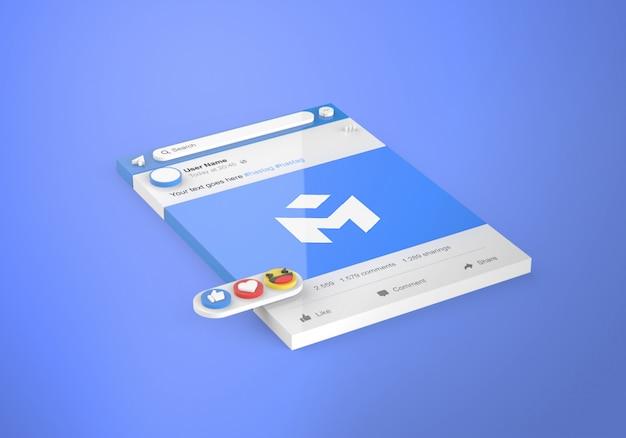 Maquete do facebook de mídia social 3d