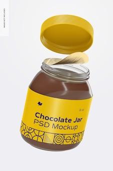 Maquete do frasco de chocolate para barrar, caindo