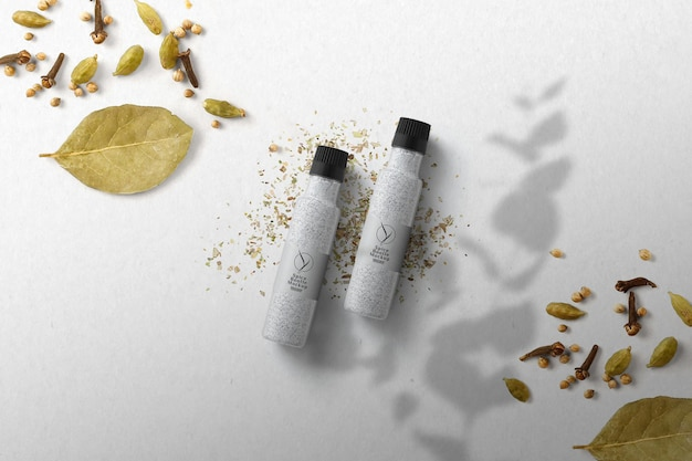 Maquete do frasco de especiarias da vista superior