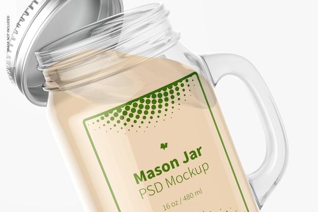 Maquete do frasco de pedreiro de 16 onças, close-up