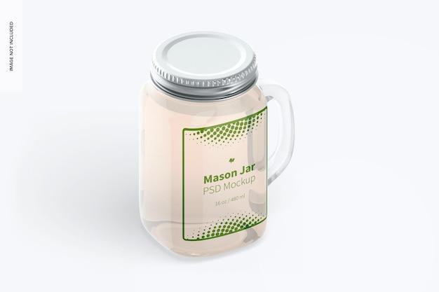 Maquete do frasco de pedreiro de 16 onças, vista direita isométrica