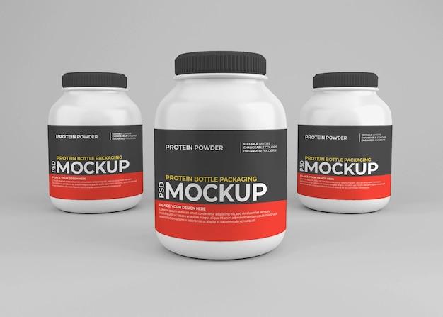 Maquete do frasco de suplemento nutricional de proteína em pó