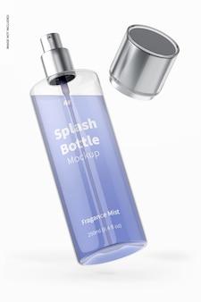 Maquete do frasco respingo de 250 ml, caindo