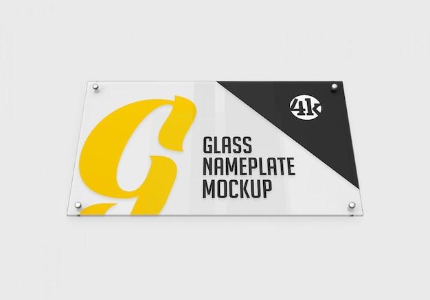Maquete do fundo da placa de identificação de vidro retangular