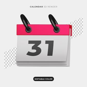 Maquete do ícone do calendário 3d isolada
