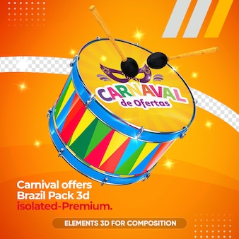 Maquete do instrumento zabumba para carnaval em renderização 3d