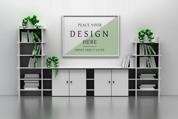 Maquete do interior do escritório com armário, prateleiras de livros, moldura em branco vazia e vasos de plantas