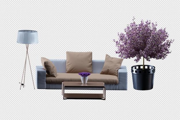 Maquete do interior do sofá com renderização em 3d isolada