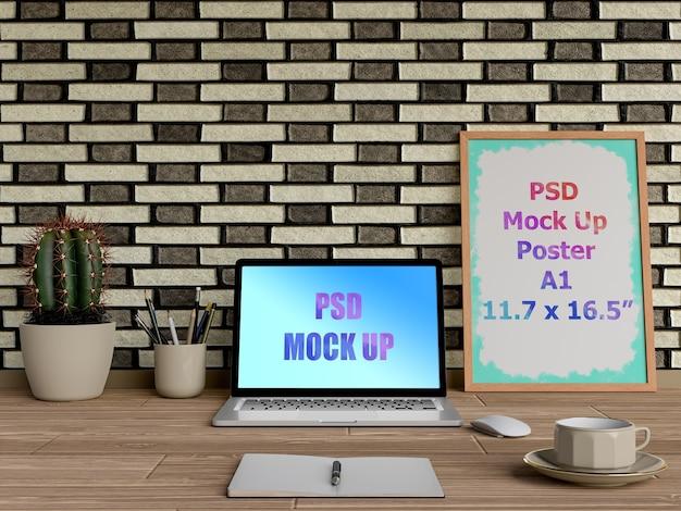 Maquete do laptop ao lado do quadro