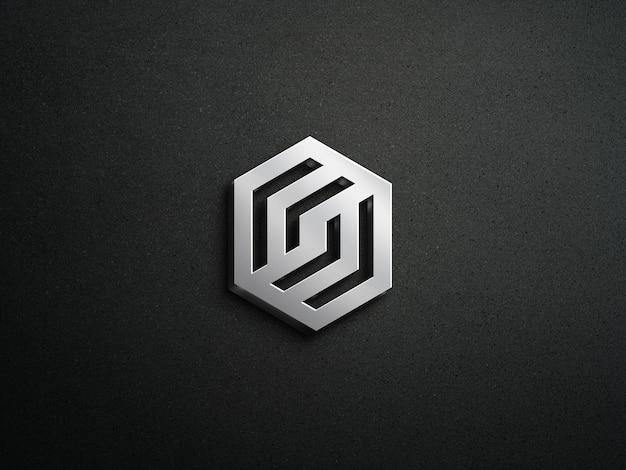 Maquete do logotipo 3d com efeito prateado e fundo escuro