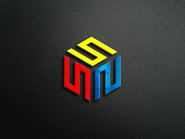 Maquete do logotipo 3d com fundo escuro da parede