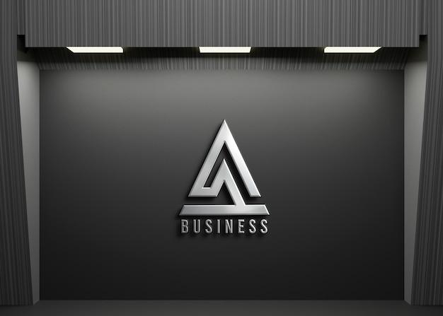 Maquete do logotipo 3d com fundo escuro do escritório