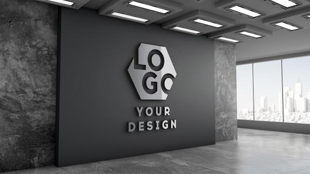 Maquete do logotipo 3d com parede preta para escritório moderno