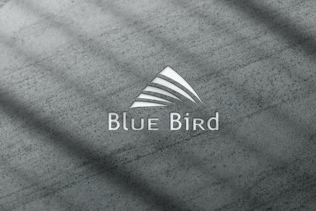 Maquete do logotipo 3d com textura de cimento