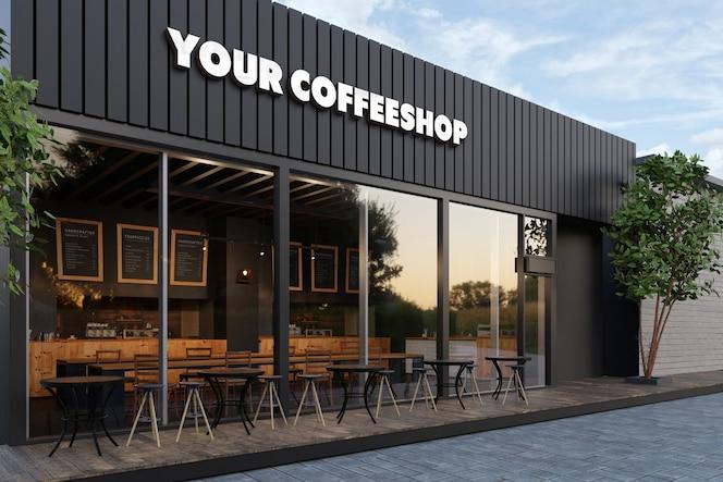 Maquete do logotipo 3d da vitrine do café