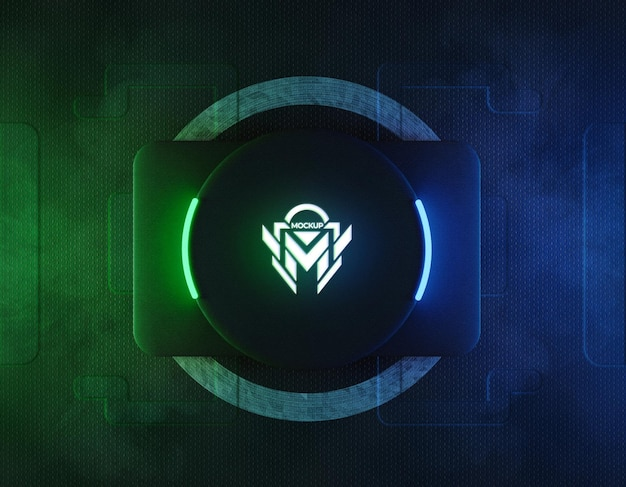 Maquete do logotipo 3d de néon com luz de néon reflexiva verde e azul