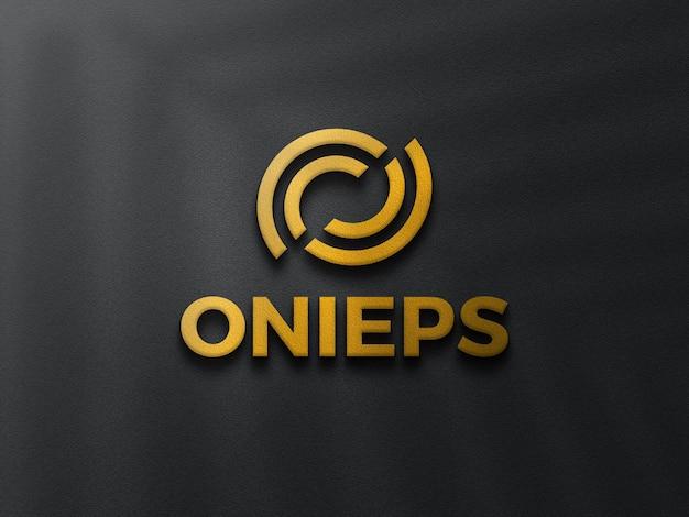 Maquete do logotipo 3d dourado com papel preto