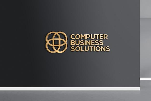 Maquete do logotipo 3d dourado na parede