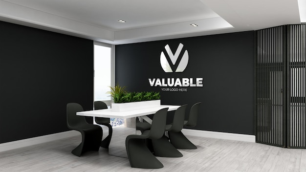 Maquete do logotipo 3d em sala de reunião minimalista