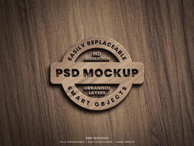 Maquete do logotipo 3d em superfície de madeira