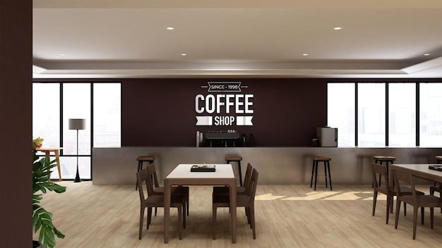 Maquete do logotipo 3d em um café ou restaurante com design de interiores moderno
