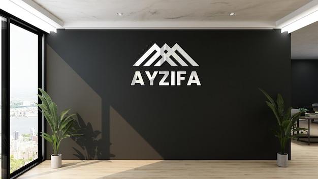Maquete do logotipo 3d em um escritório moderno com parede preta