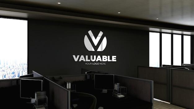 Maquete do logotipo 3d em um espaço de trabalho de escritório moderno