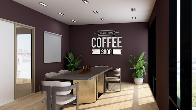 Maquete do logotipo 3d em uma cafeteria ou sala de reuniões de restaurante