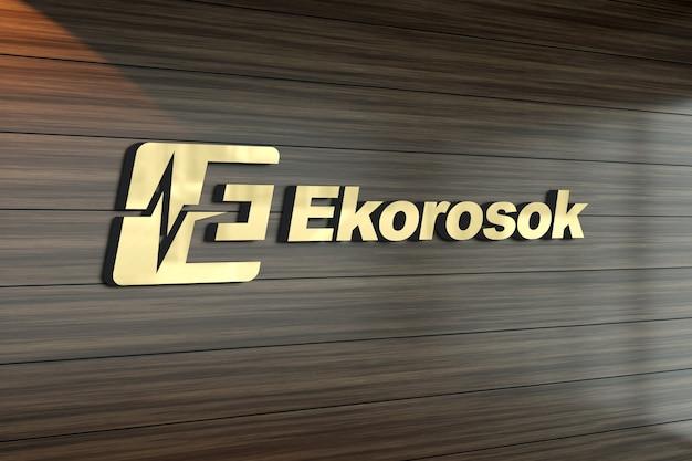 Maquete do logotipo 3d em uma parede de madeira estampada