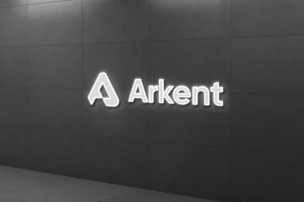 Maquete do logotipo 3d luminoso na parede preta