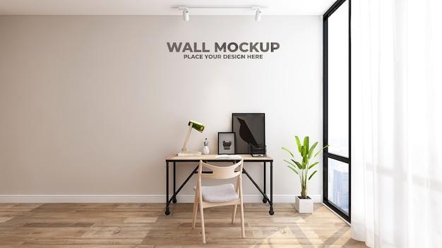 Maquete do logotipo 3d marrom do escritório em um espaço de trabalho interno simples e clássico