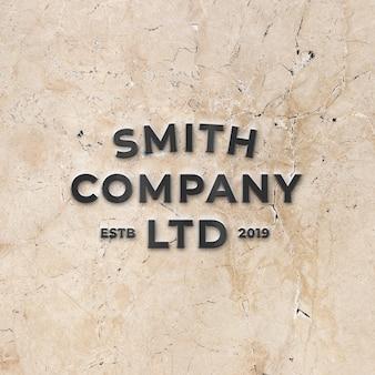 Maquete do logotipo 3d metálico preto na parede de mármore de pedra brilhante