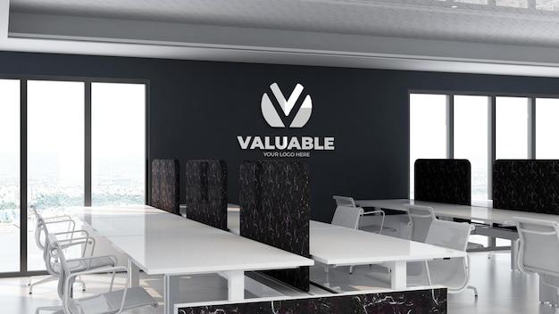 Maquete do logotipo 3d na área de trabalho do escritório