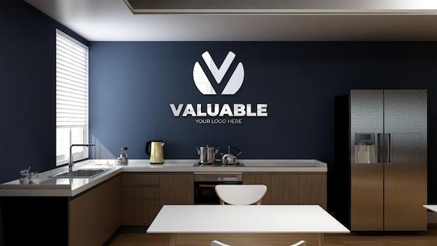 Maquete do logotipo 3d na cozinha do escritório ou despensa com mesa para o almoço