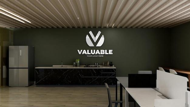 Maquete do logotipo 3d na despensa do escritório com parede verde