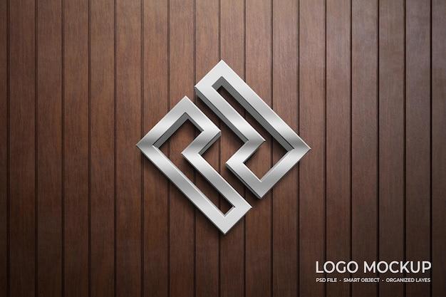 Maquete do logotipo 3d na parede de madeira