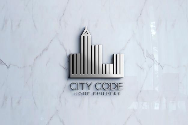 Maquete do logotipo 3d na parede de mármore