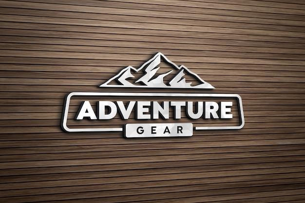 Maquete do logotipo 3d na parede de prancha de madeira