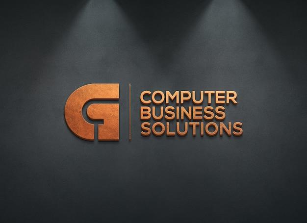 Maquete do logotipo 3d na parede escura