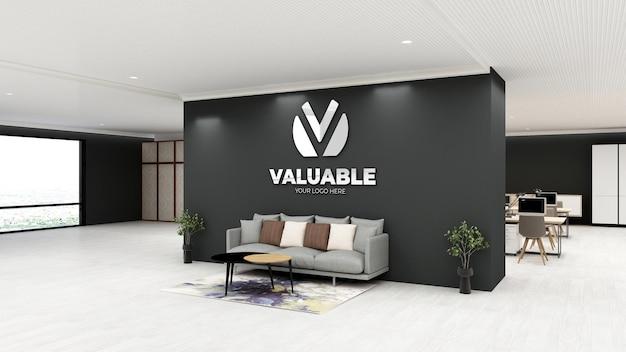 Maquete do logotipo 3d na parede preta sala de espera do saguão do escritório moderno