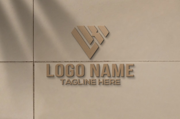 Maquete do logotipo 3d na parede