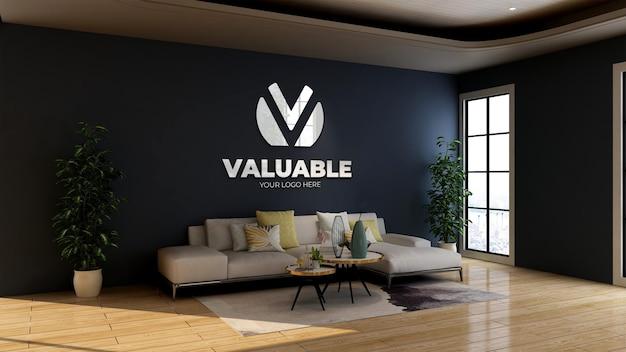 Maquete do logotipo 3d na sala de espera do saguão de negócios do escritório
