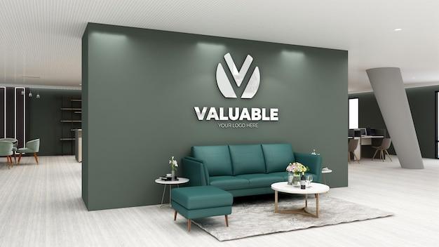 Maquete do logotipo 3d na sala de espera do saguão do escritório moderno