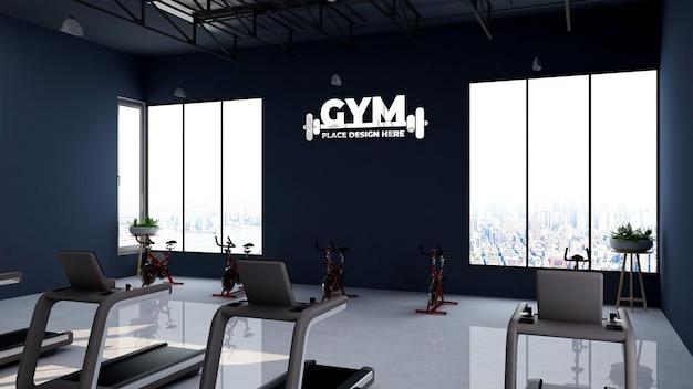 Maquete do logotipo 3d na sala de ginástica ou academia