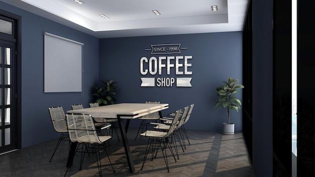 Maquete do logotipo 3d na sala de reuniões do café