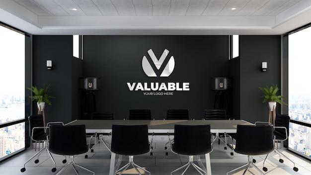 Maquete do logotipo 3d na sala de reuniões do escritório com parede preta