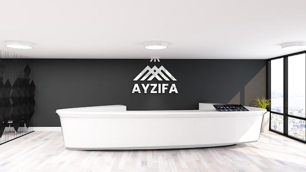 Maquete do logotipo 3d na sala do escritório da recepcionista