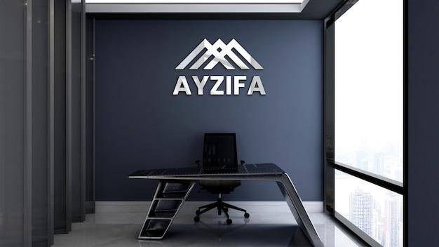 Maquete do logotipo 3d na sala do gerente de escritório
