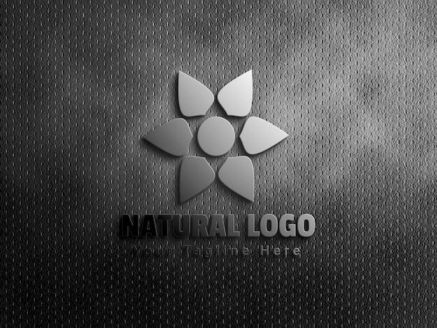 Maquete do logotipo 3d natural no fundo da textura