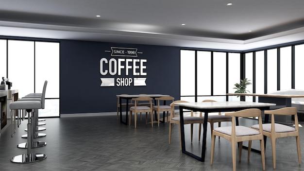 Maquete do logotipo 3d no café com mesa de madeira e parede azul
